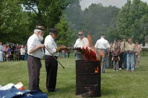 Old Americans Flags are Burned for proper disposal